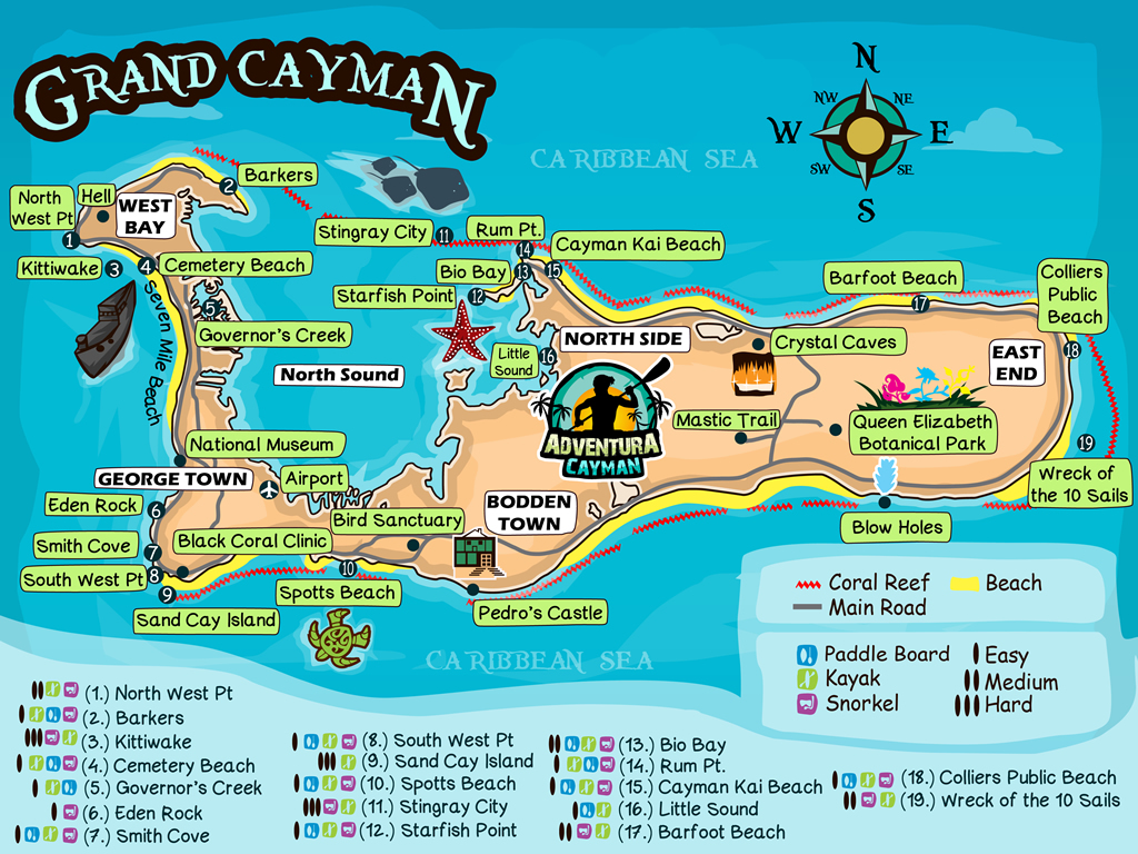 Grand Cayman map